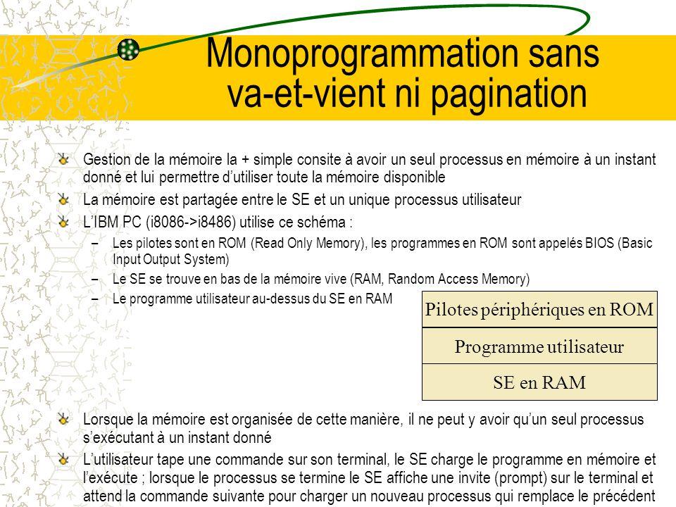 Monoprogrammation sans va-et-vient ni pagination