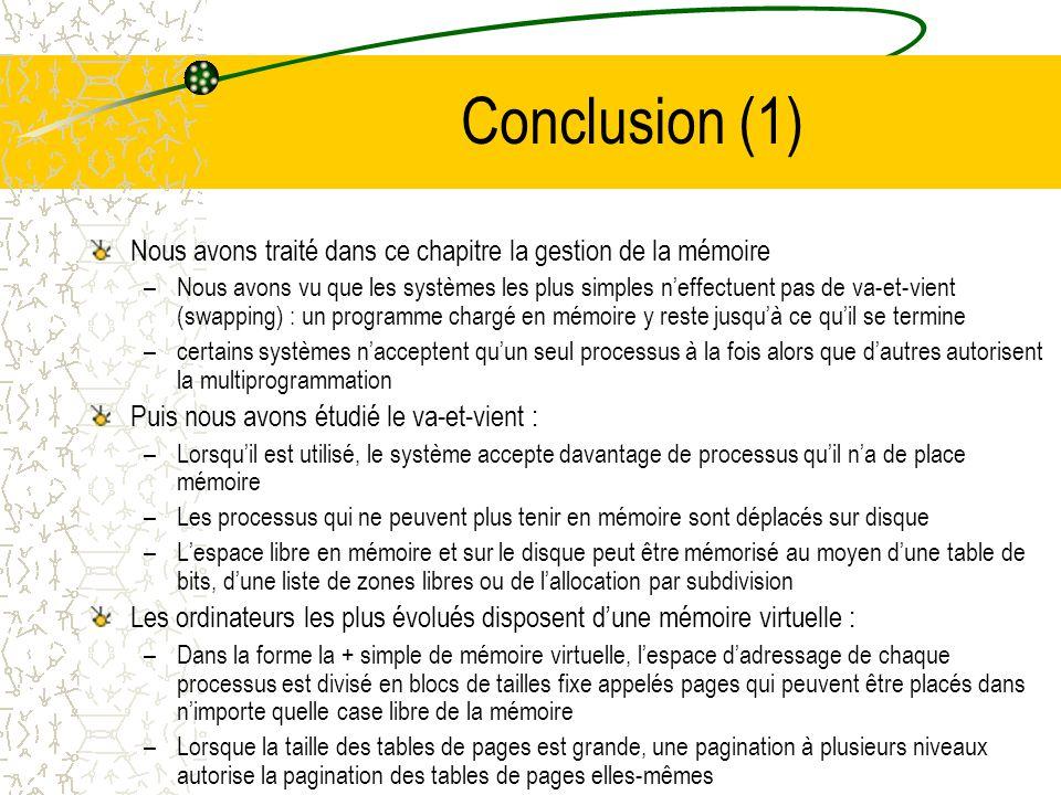 Conclusion (1) Nous avons traité dans ce chapitre la gestion de la mémoire.