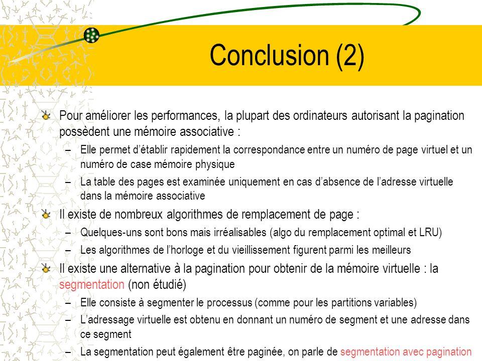 Conclusion (2) Pour améliorer les performances, la plupart des ordinateurs autorisant la pagination possèdent une mémoire associative :