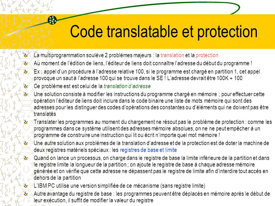 Code translatable et protection