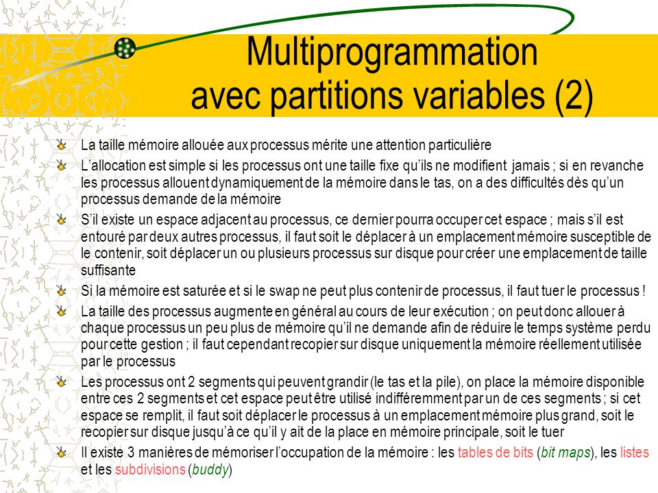 Multiprogrammation avec partitions variables (2)