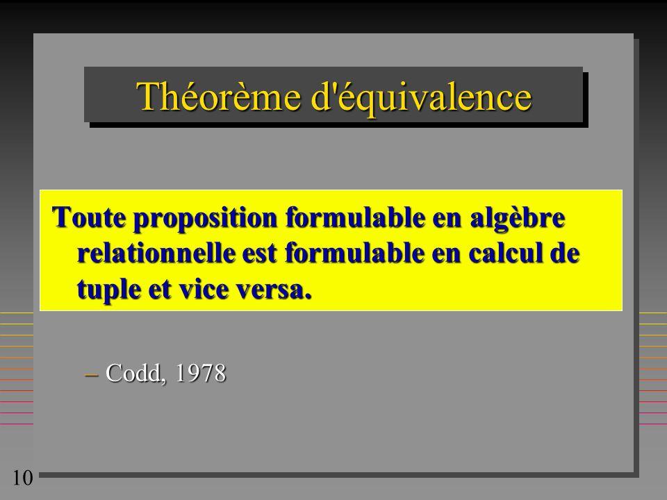 Théorème d équivalence