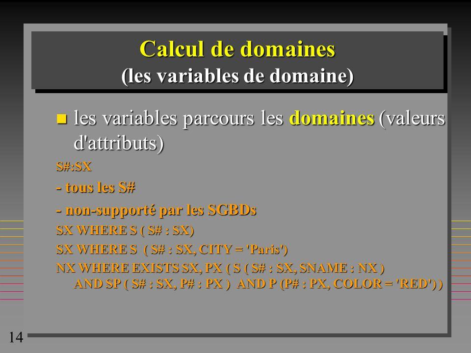 Calcul de domaines (les variables de domaine)