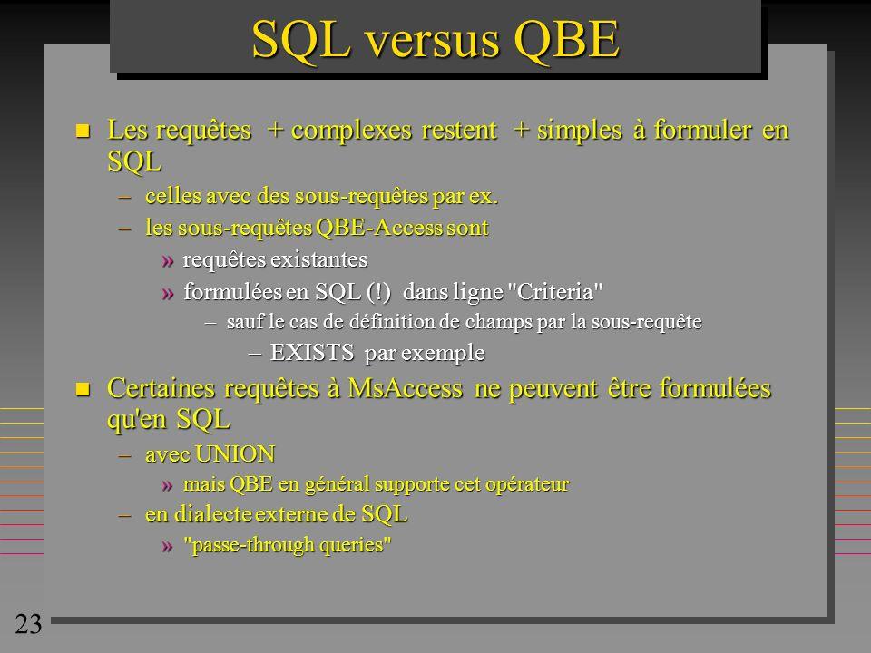 SQL versus QBE Les requêtes + complexes restent + simples à formuler en SQL. celles avec des sous-requêtes par ex.