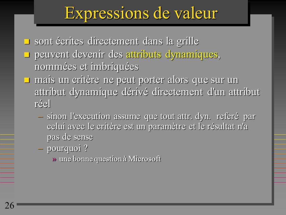 Expressions de valeur sont écrites directement dans la grille
