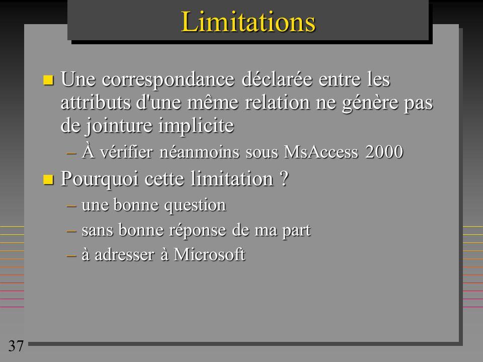 Limitations Une correspondance déclarée entre les attributs d une même relation ne génère pas de jointure implicite.