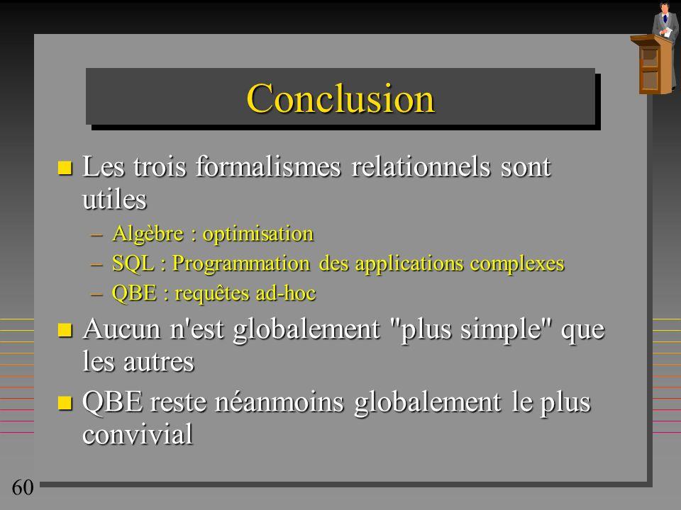 Conclusion Les trois formalismes relationnels sont utiles