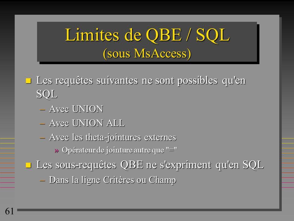 Limites de QBE / SQL (sous MsAccess)