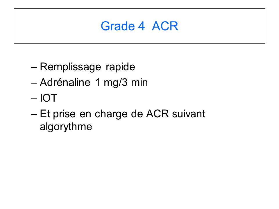 Grade 4 ACR Remplissage rapide Adrénaline 1 mg/3 min IOT