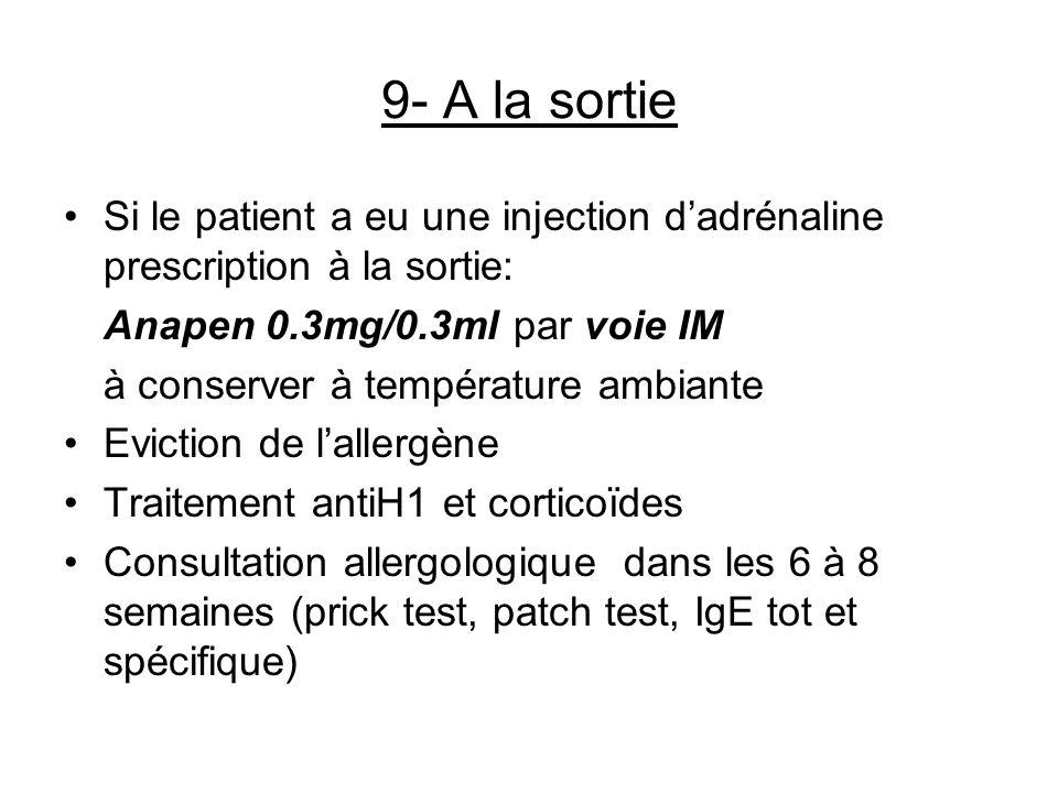 9- A la sortieSi le patient a eu une injection d'adrénaline prescription à la sortie: Anapen 0.3mg/0.3ml par voie IM.
