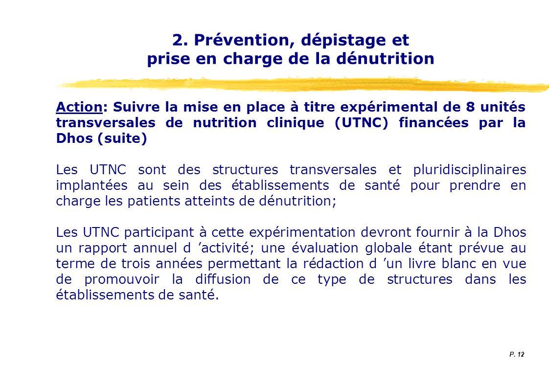 2. Prévention, dépistage et prise en charge de la dénutrition