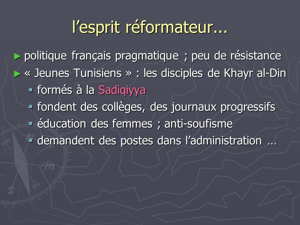 l'esprit réformateur... politique français pragmatique ; peu de résistance. « Jeunes Tunisiens » : les disciples de Khayr al-Din.