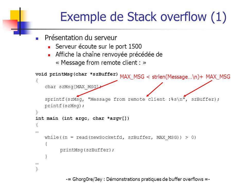 Exemple de Stack overflow (1)