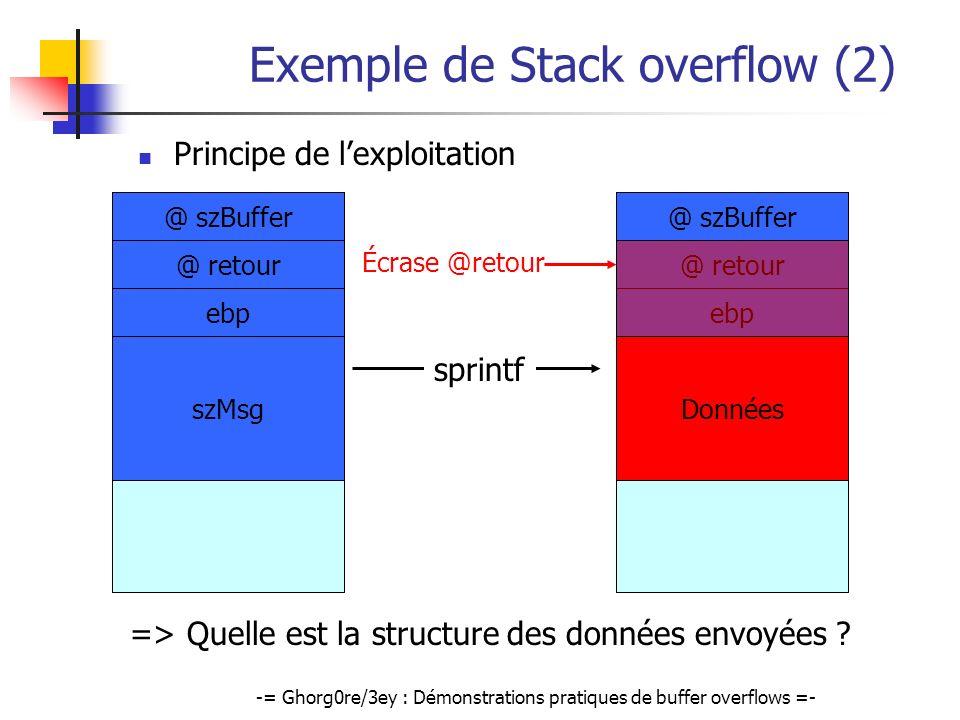 Exemple de Stack overflow (2)