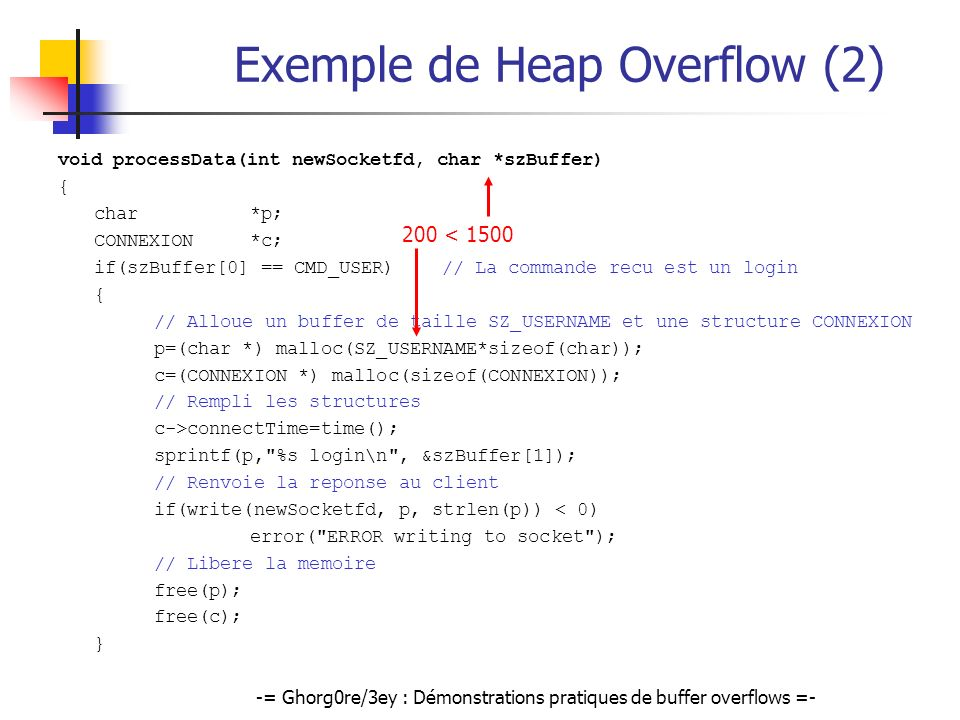 Exemple de Heap Overflow (2)