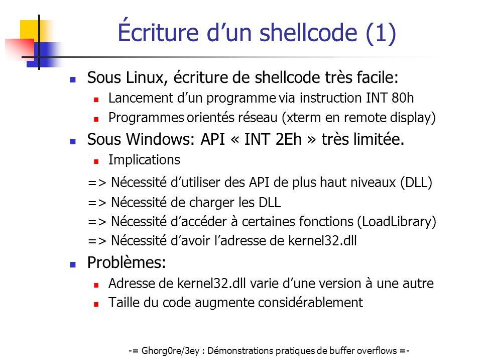 Écriture d'un shellcode (1)