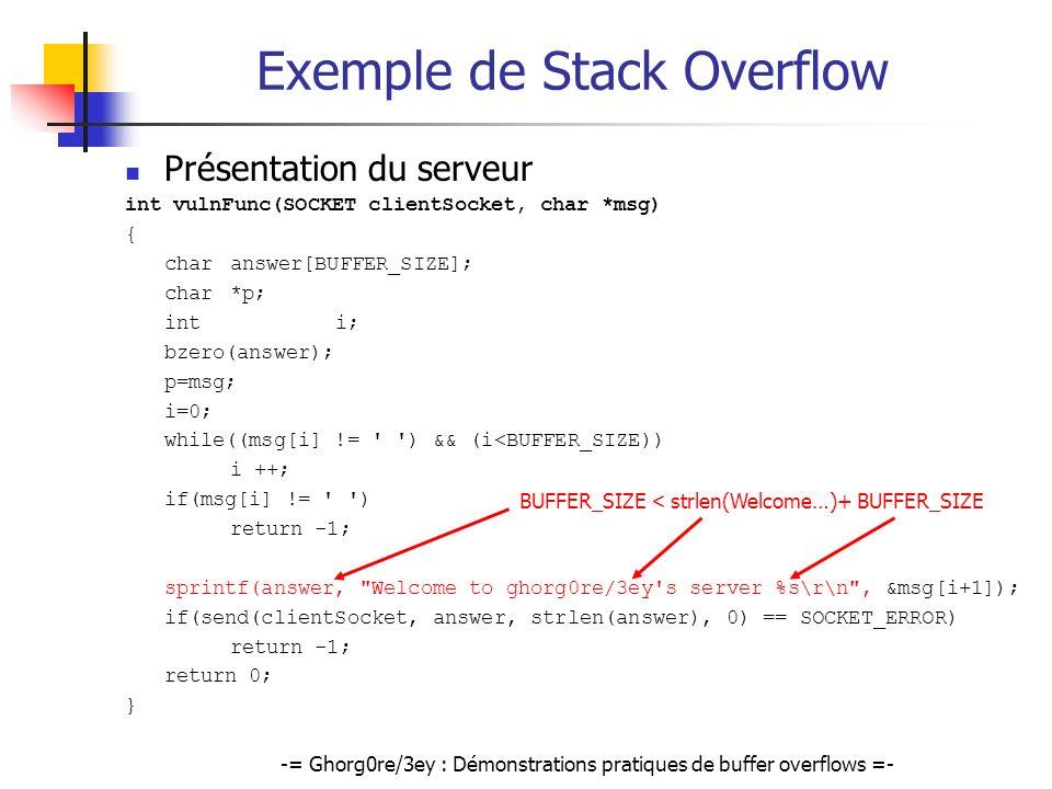 Exemple de Stack Overflow