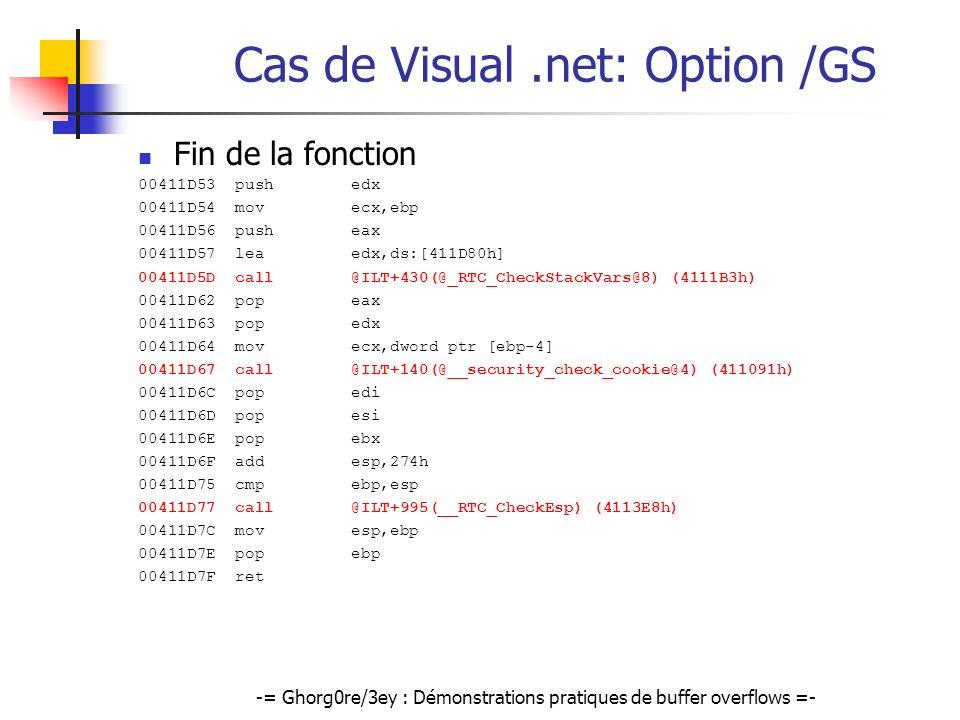 Cas de Visual .net: Option /GS