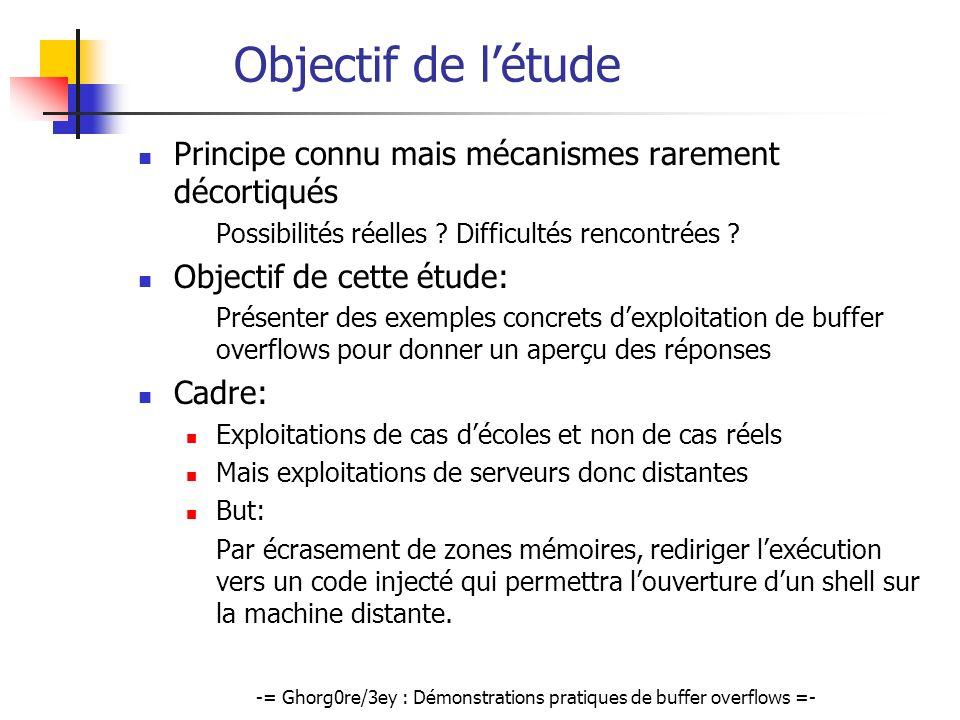 -= Ghorg0re/3ey : Démonstrations pratiques de buffer overflows =-