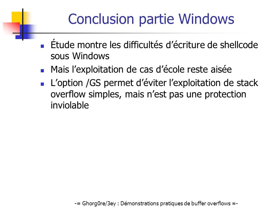 Conclusion partie Windows