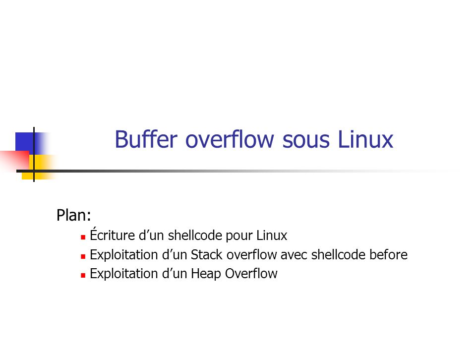 Buffer overflow sous Linux