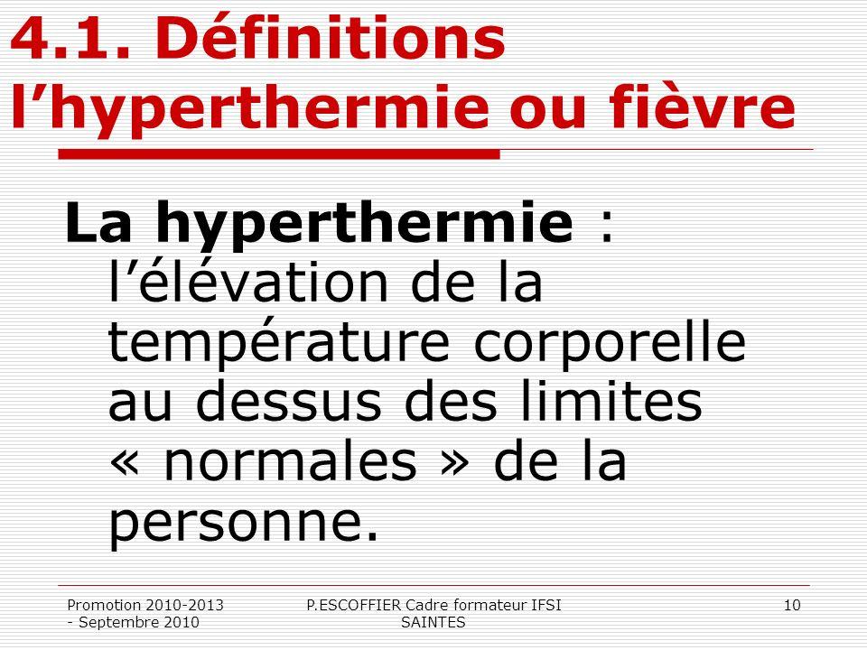 4.1. Définitions l'hyperthermie ou fièvre