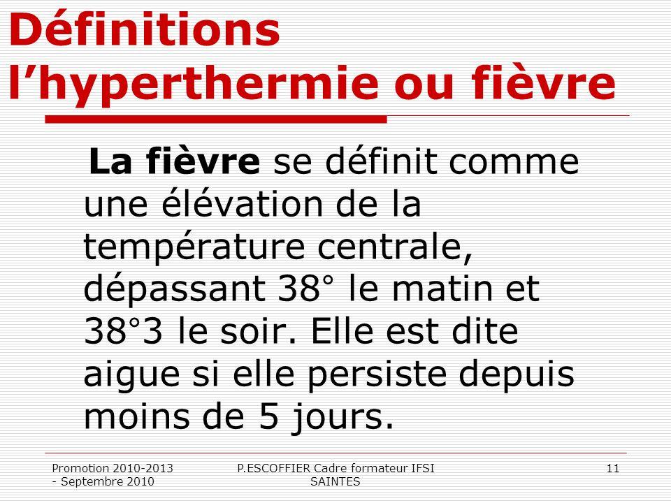 Définitions l'hyperthermie ou fièvre