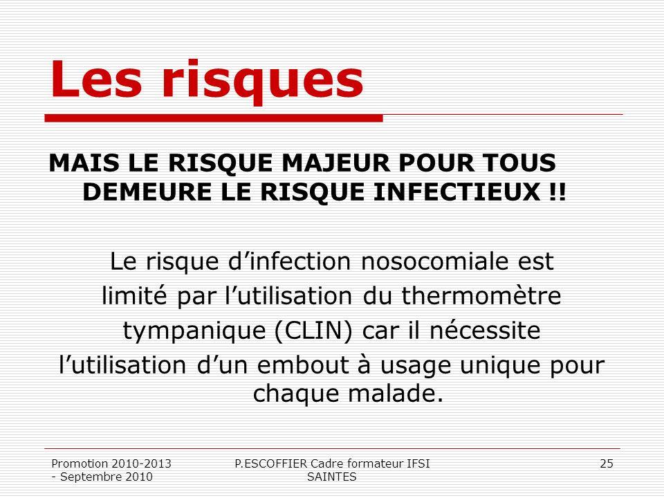 Les risques MAIS LE RISQUE MAJEUR POUR TOUS DEMEURE LE RISQUE INFECTIEUX !! Le risque d'infection nosocomiale est.
