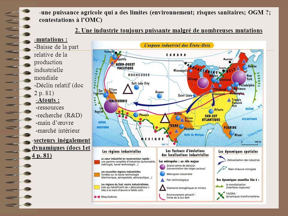 -une puissance agricole qui a des limites (environnement; risques sanitaires; OGM ; contestations à l'OMC)