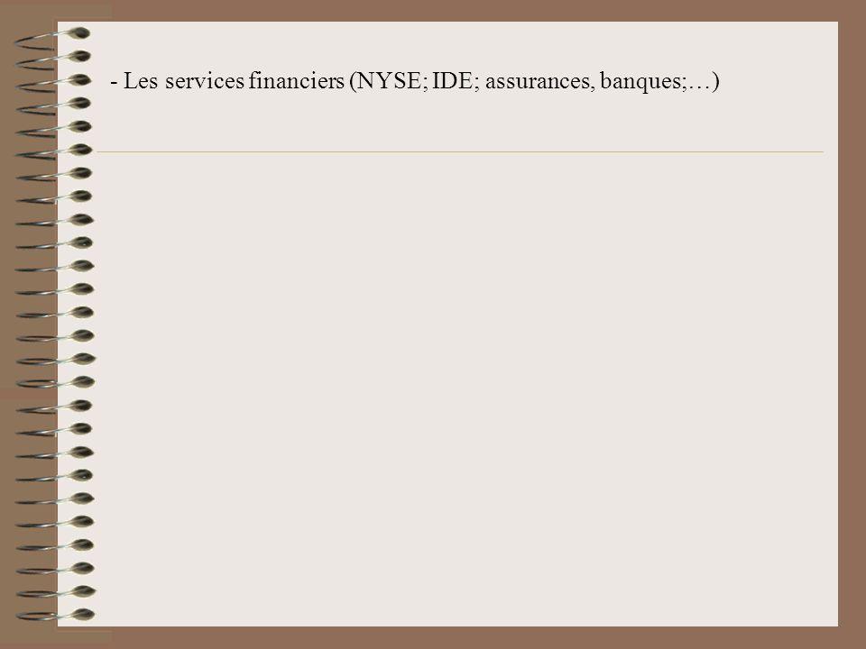 - Les services financiers (NYSE; IDE; assurances, banques;…)