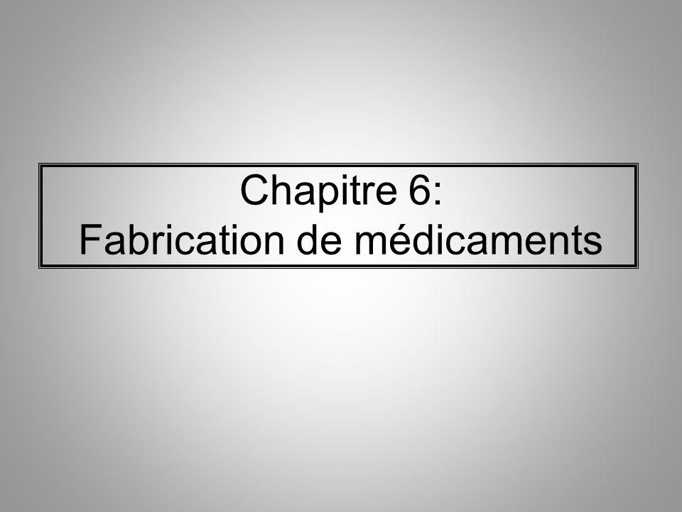 Chapitre 6: Fabrication de médicaments