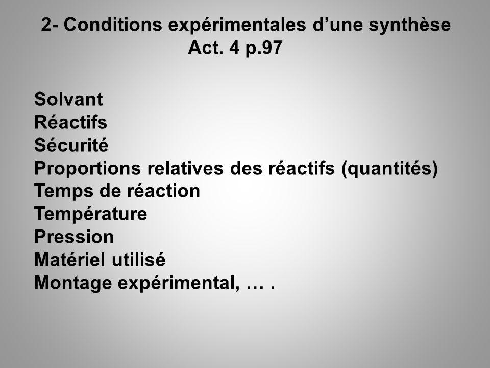 2- Conditions expérimentales d'une synthèse