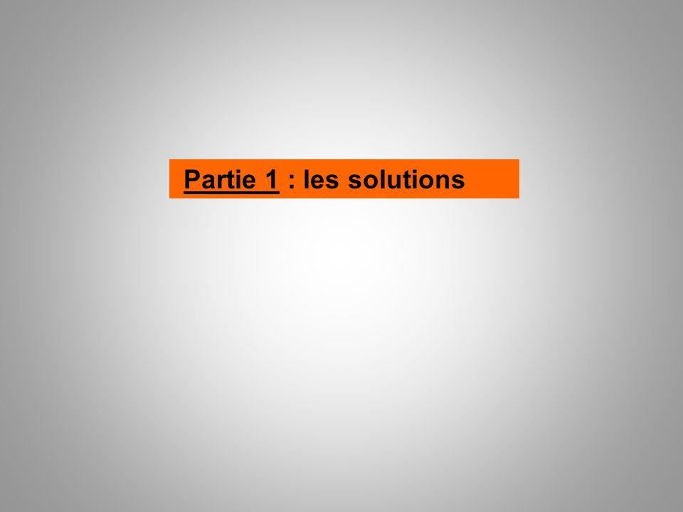 Partie 1 : les solutions