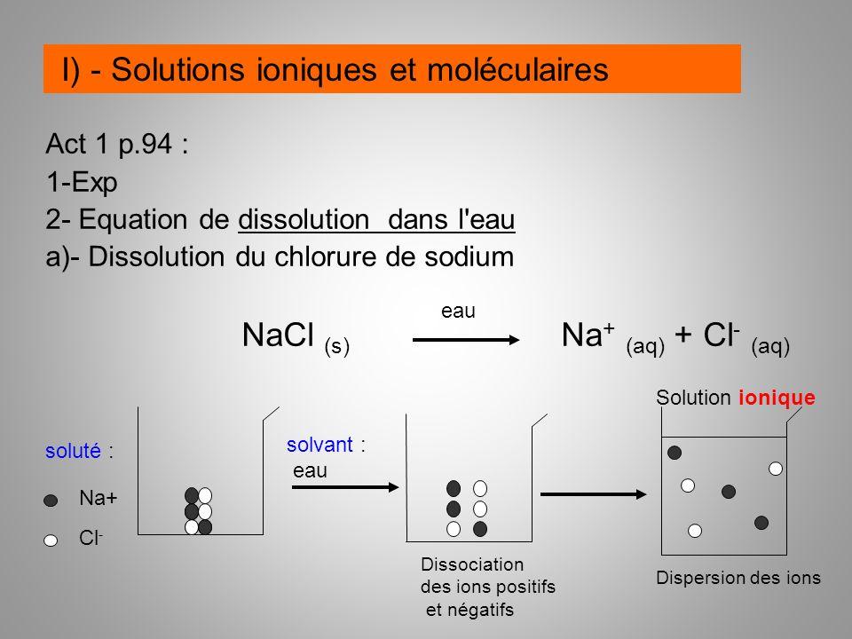 I) - Solutions ioniques et moléculaires