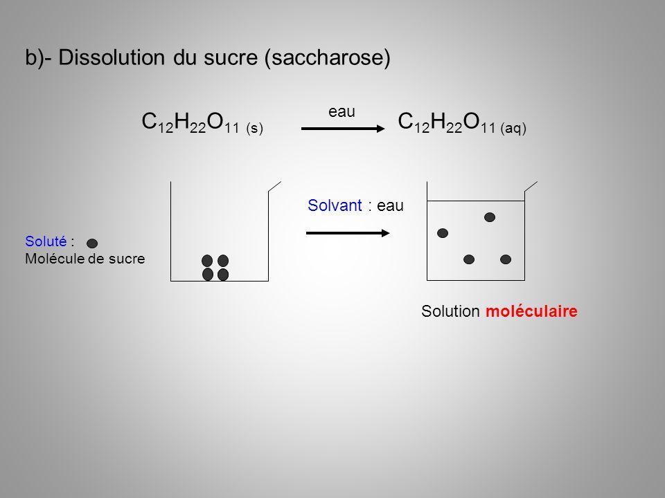 b)- Dissolution du sucre (saccharose) C12H22O11 (s) C12H22O11 (aq)