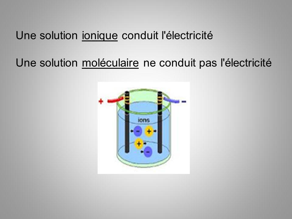 Une solution ionique conduit l électricité