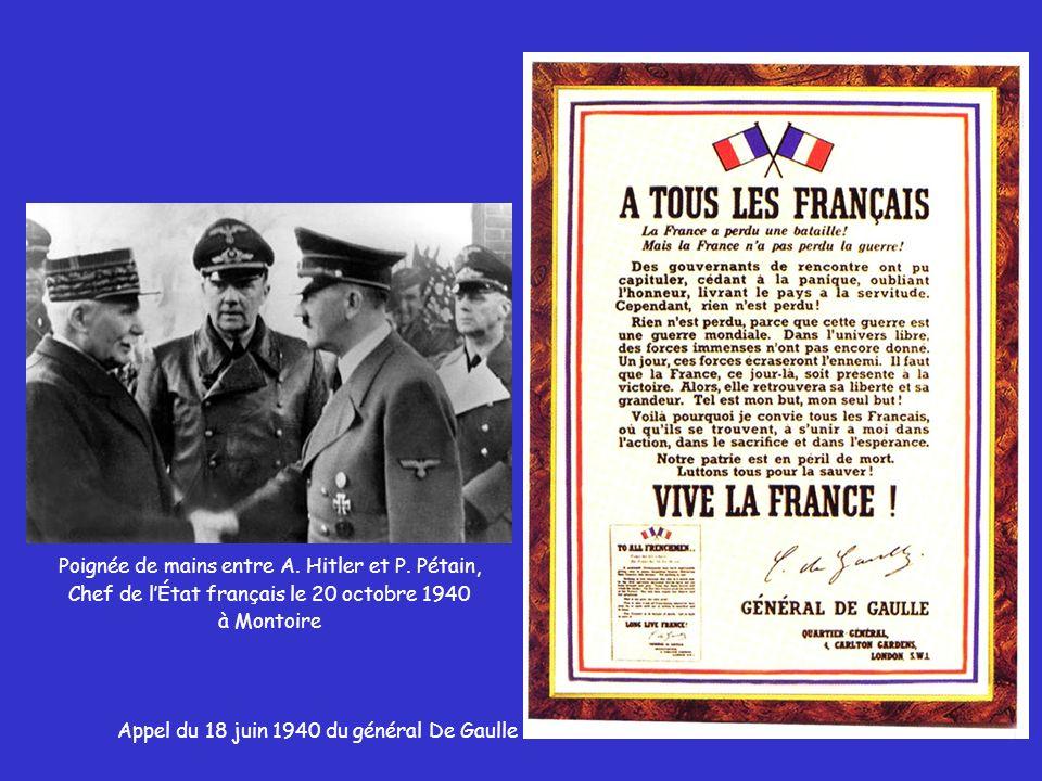 Poignée de mains entre A. Hitler et P. Pétain,