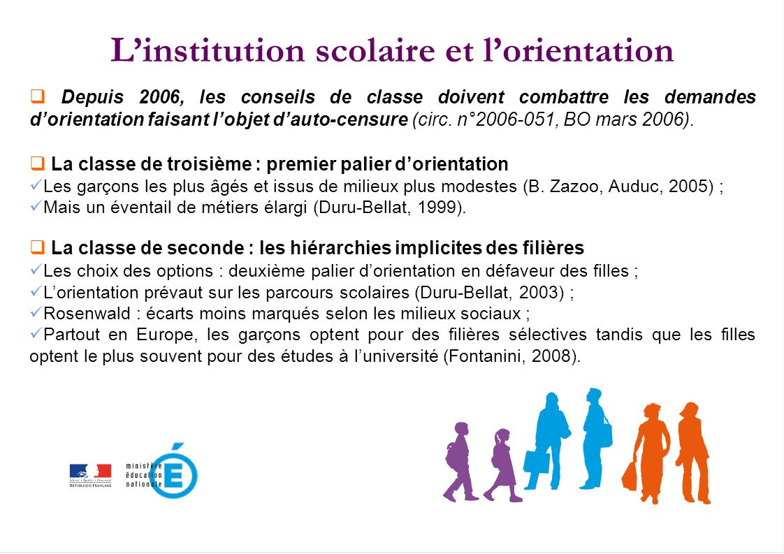 L'institution scolaire et l'orientation