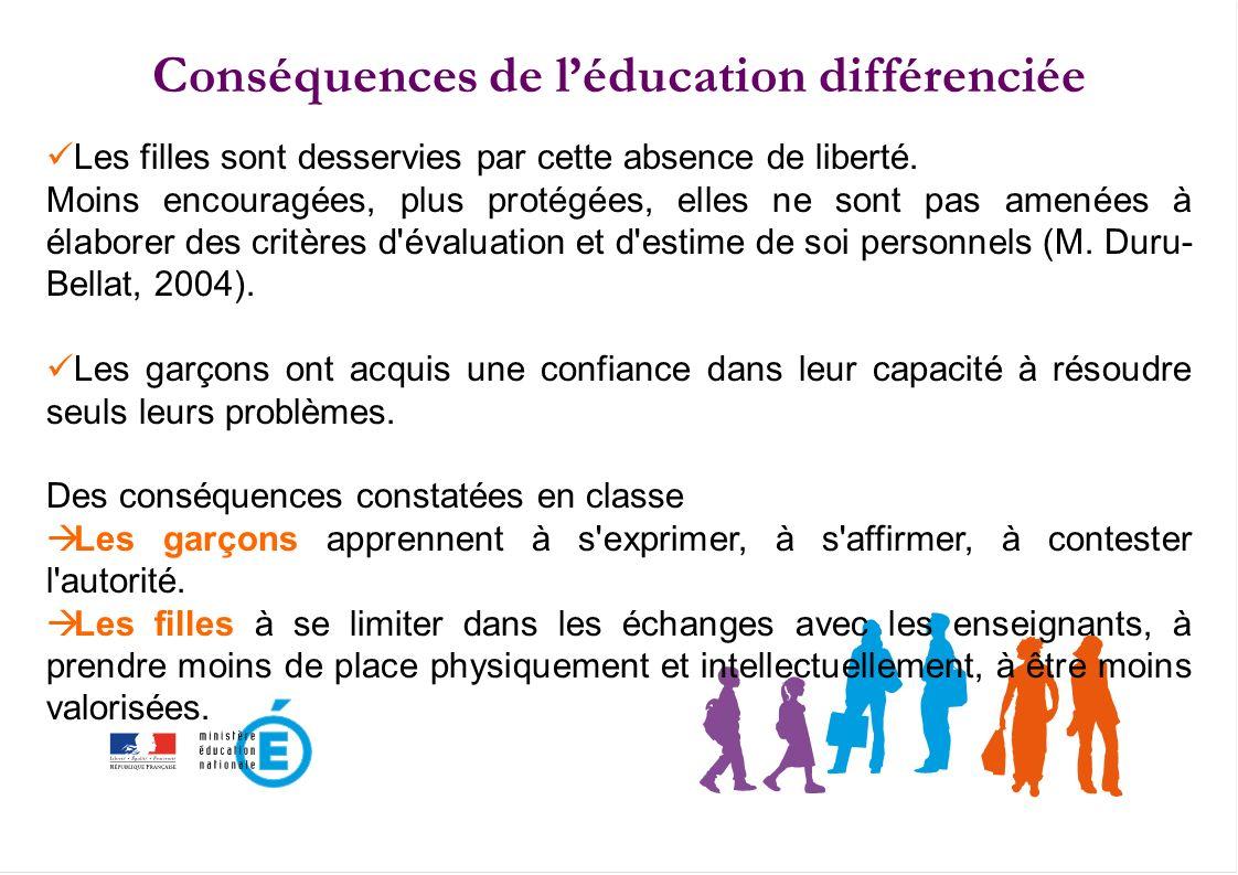 Conséquences de l'éducation différenciée