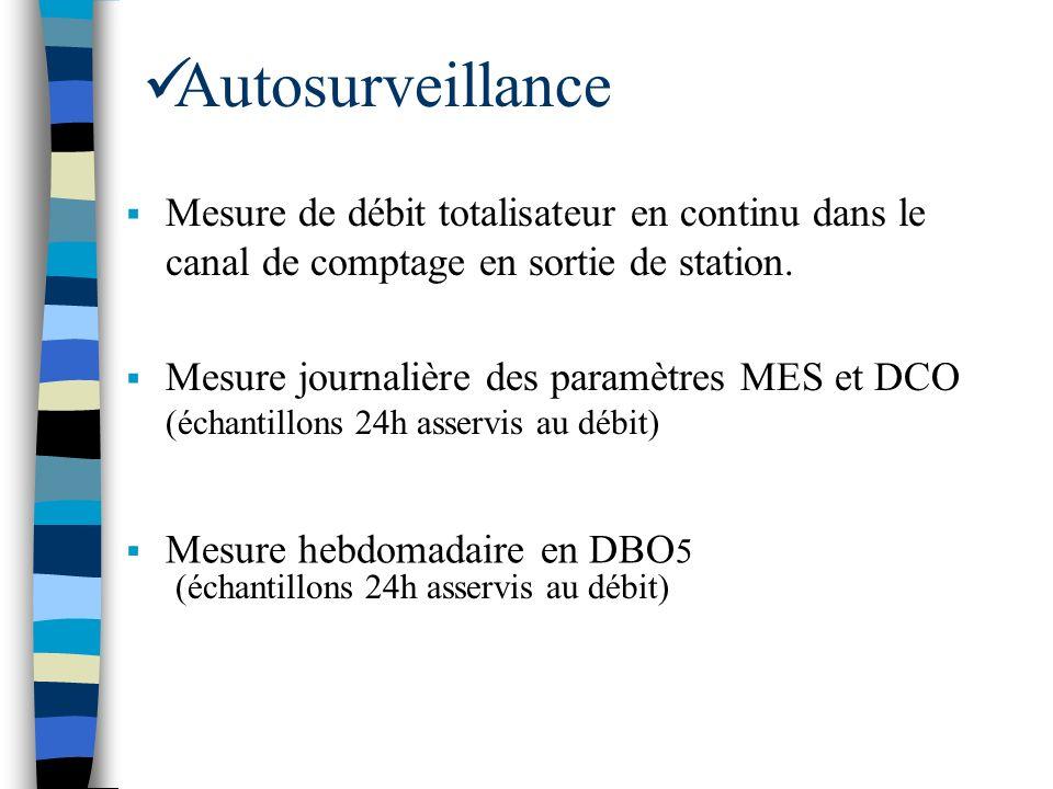 Autosurveillance Mesure de débit totalisateur en continu dans le canal de comptage en sortie de station.