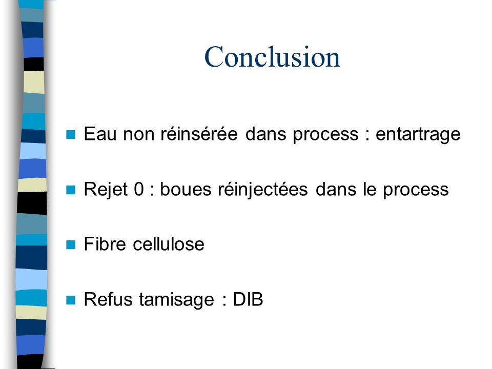 Conclusion Eau non réinsérée dans process : entartrage