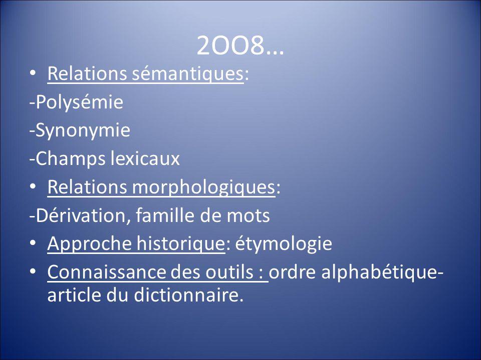 2OO8… Relations sémantiques: -Polysémie -Synonymie -Champs lexicaux