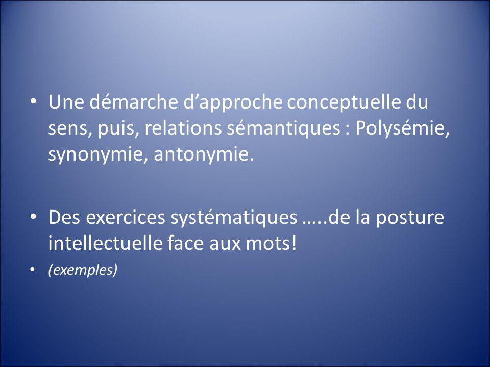 Une démarche d'approche conceptuelle du sens, puis, relations sémantiques : Polysémie, synonymie, antonymie.
