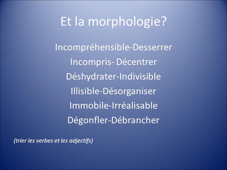 Et la morphologie Incompréhensible-Desserrer Incompris- Décentrer