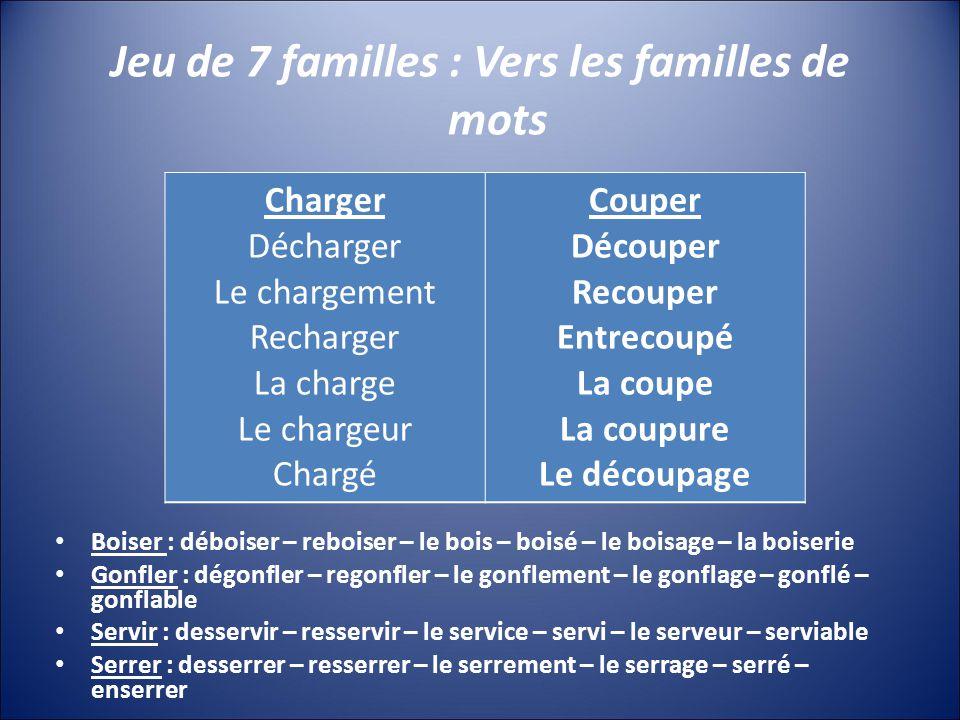 Jeu de 7 familles : Vers les familles de mots