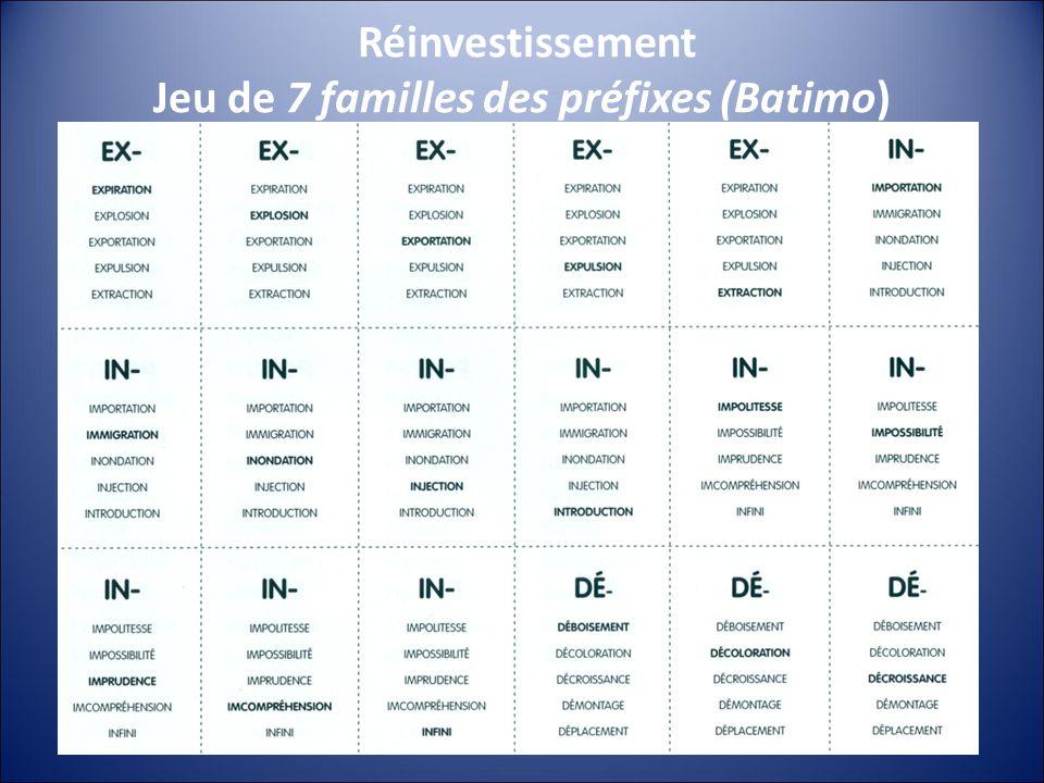 Réinvestissement Jeu de 7 familles des préfixes (Batimo)