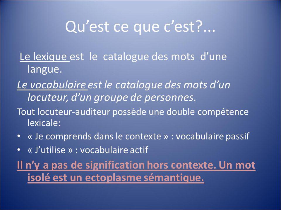 Qu'est ce que c'est ... Le lexique est le catalogue des mots d'une langue.