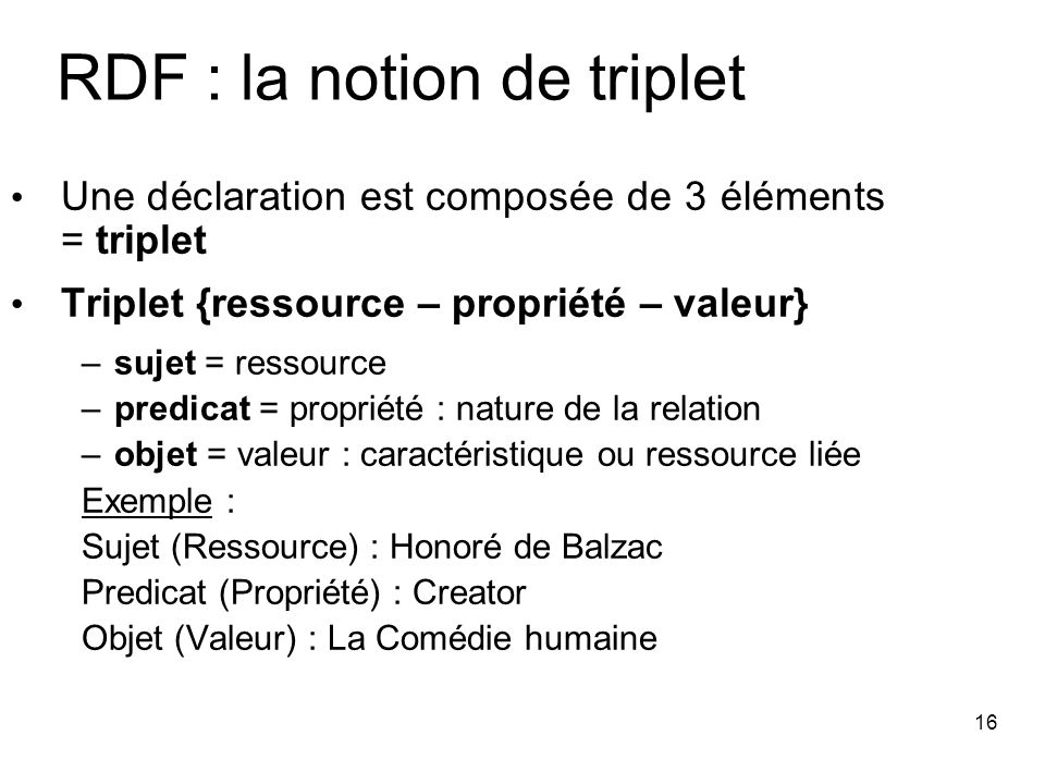 RDF : la notion de triplet