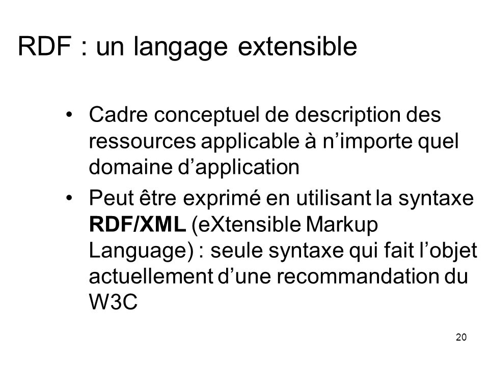 RDF : un langage extensible