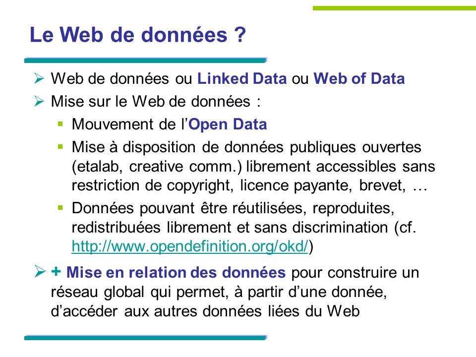 Le Web de données Web de données ou Linked Data ou Web of Data. Mise sur le Web de données : Mouvement de l'Open Data.